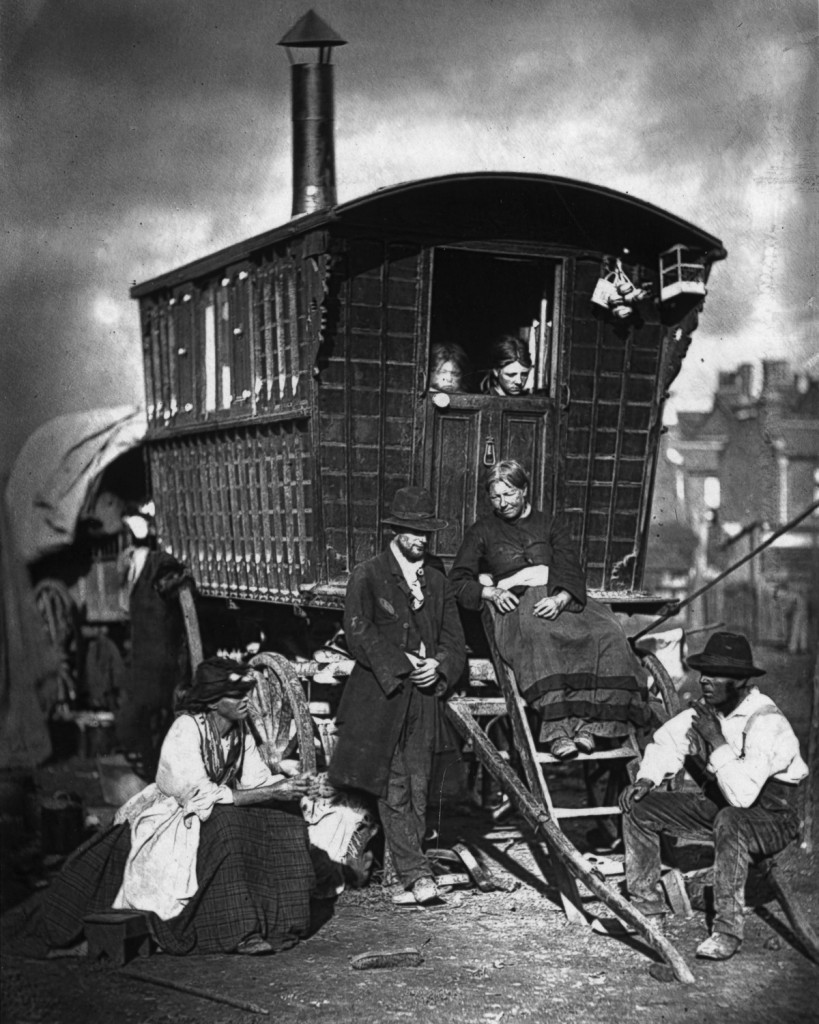 circa 1877: A Gypsy caravan at an encampment near Latimer Road, Notting Hill, London. Original Publication: From 'Street Life in London' by John Thomson and Adolphe Smith - pub. 1877